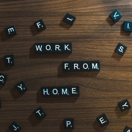 Work From Home scrabble pieces